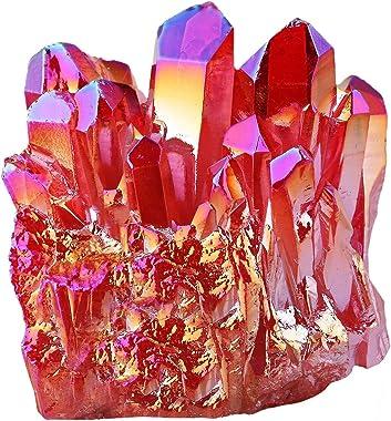 mookaitedecor Titanium Coated Natural Rock Crystal Cluster Geode Stone Specimen, Red