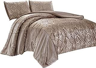 Chezmoi Collection Falcon 3-Piece Coverlet Set - Metallic Glitter Champagne Gold Velvet Bedspread, King Size