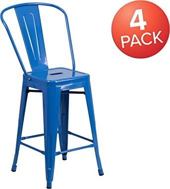 """Flash Furniture Commercial Grade 4 Pack 24"""" High Blue Metal Indoor-Outdoor Counter Height Stool with Removable Back"""