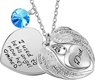 I Used to be his Angel Wing Women Religious ash urn Birthstone Charm dadmomgrandpagrandma Cremation Pendant Necklace (DAD)