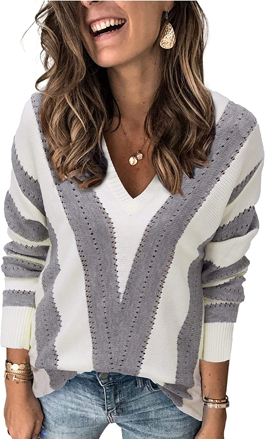 Easy-to-use OUGES Women's Long Sleeve Las Vegas Mall V Neck K Color Block Oversized Striped