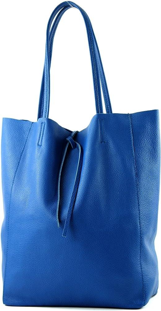 Modamoda de, borsa in pelle, shopper per donna a spalla, blu2 T163BL