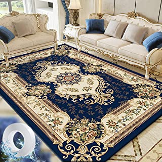 Vintage Flower Area Rug Living Room Carpet Center Rugs Large Floor Mat Anti-slip and Washable 160x230cm Dark Blue with 3m ...