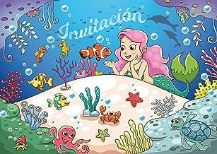 """Edition Colibri 10 Invitaciones en español """"Sirenas"""" (Jgo. 2): Juego de 10 Invitaciones para el cumpleaños de niña / Fiesta en la Piscina / natación (10965 ES)"""