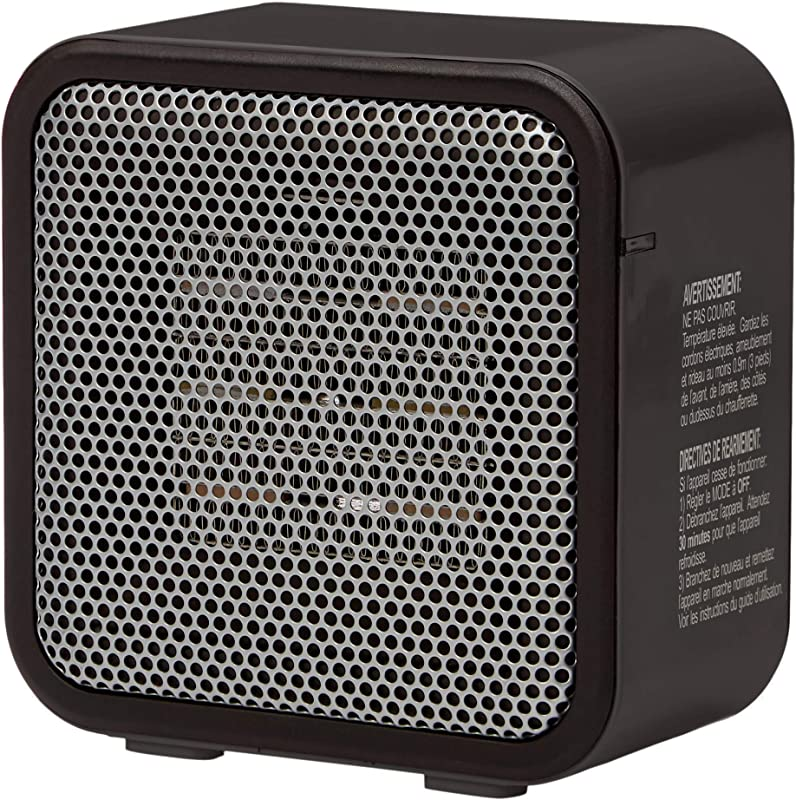 AmazonBasics 500 Watt Ceramic Small Space Personal Mini Heater Black