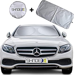 Shade-It Car Windshield Sun Shade + Free Product Durable 210T Nylon Polyester Heat Block & UV Protection Sunshades - Sunlight Blocker Reflective Coating, Easy Storage Sunshade (Small 60.75