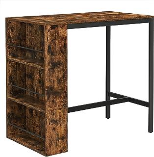 VASAGLE Table de bar, Table haute, Meuble de cuisine, Table à manger, Plan de travail, avec étagères, pour salon, salle à ...