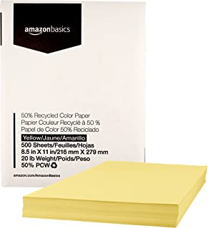 AmazonBasics 50% Recycled Color Printer Paper - Yellow, 8.5 x 11 Inches, 1 Ream (500 Sheets)