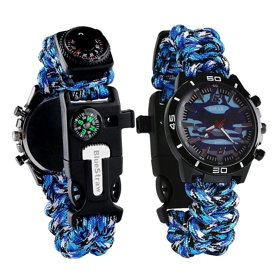 出身地傭兵価値のない腕時計 アウトドア ウォッチ 6 in 1 多機能 サバイバルブレスレット (救急笛 コンバス 温度計 バラコード 救急縄付き) 登山 キャンプ 旅行用