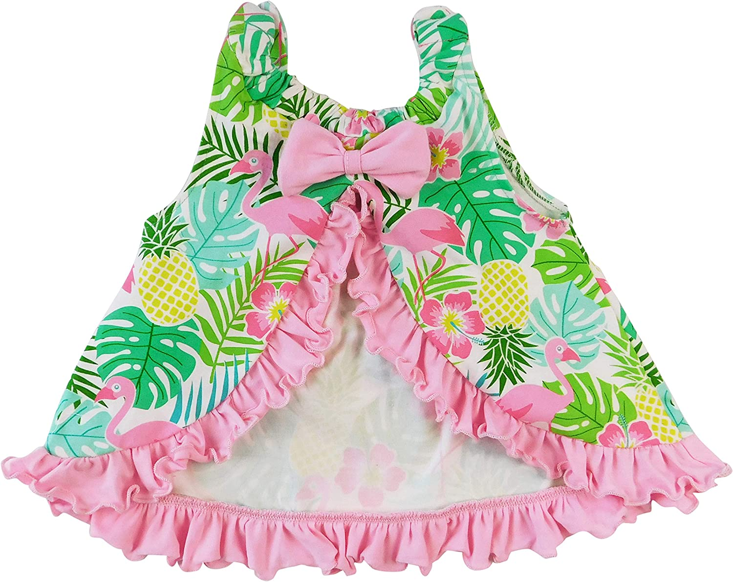 Fresno Mall AnnLoren Baby Toddler Girls Open Back Swing Spring new work Tank Bow Tr with Top