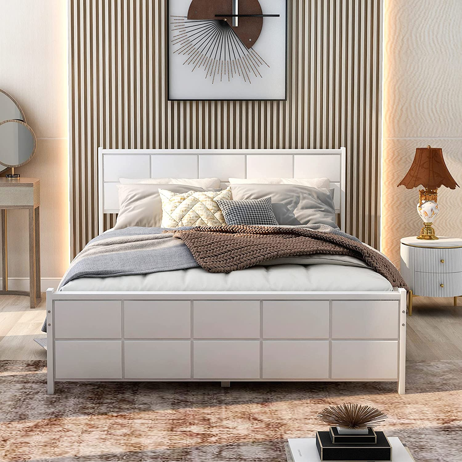 Wood Platform Bed Frame with White Be shopping Headboard Arlington Mall Footrest and