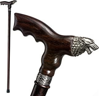 Fancy Walking Canes for Men - Direwolf - Fashionable Handcrafted Wooden Canes and Walking Sticks - Wolf Head Cane