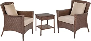 W Unlimited Galleon Collection Outdoor Furniture 4PC Set Patio Furniture Coffee Table Conversation Set Dark Brown Rattan Wicker Lounger Deep Seating (Set : 3 Piece)