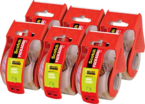 """Scotch Sure Start Shipping Packaging Tape, 1.88""""x 22.2 yd, 1.5"""" Core, Easy Start Every Time, 6 Dispensered Rolls (145-6)"""