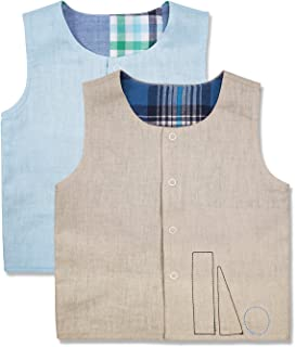 Keepersheep Todder Baby Boys' Girls' Reversible Tops Vest Sets, Infant Snap Waistcoat 2 Packs