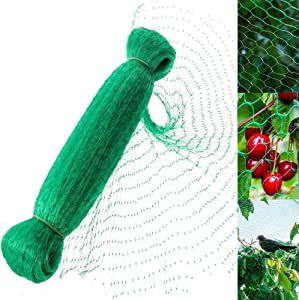 ICANZUO Green Bird Netting for Garden Protect Vegetable Plants and Fruit Trees,Plastic Trellis Netting for Against Birds, Deer,Squirrels and Other Animals,Garden Netting Pest Barrier (13ft x 40ft)