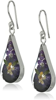 Sterling Silver Pressed Flower Purple Teardrop Earrings, 18""