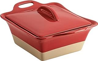 Rachael Ray 47149 Glaze Ceramics Dish/Casserole Pan with Lid, 2.5 Quart, Cherry