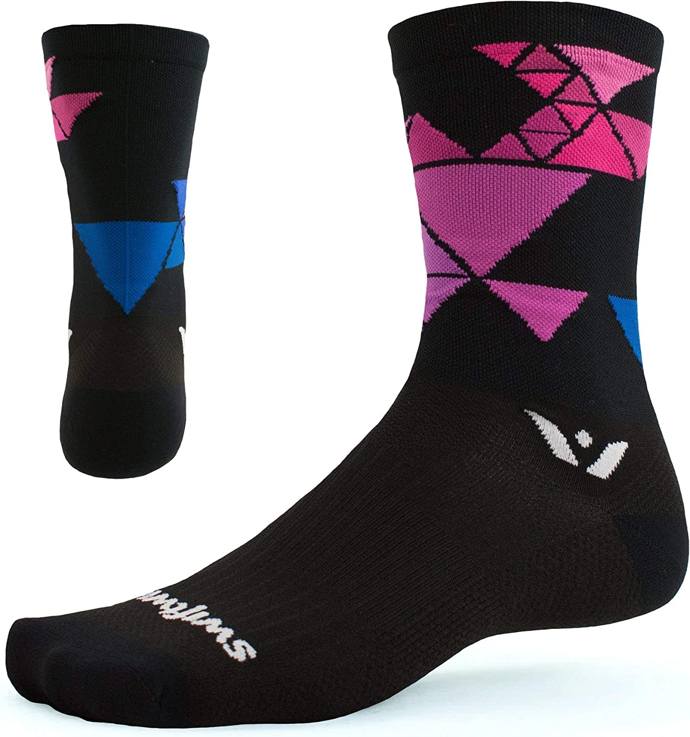 Swiftwick - VISION SIX Running & Cycling Socks, Durable Crew, Mens and Womens