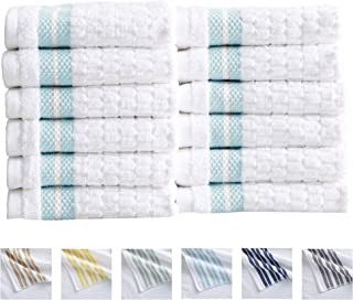 Great Bay Home 12-Piece Washcloth Set. 100% Cotton Popcorn Textured Striped Bathroom Towels. Quick Dry and Absorbent Facecloths. Elham Collection (12 Pack, Spa Blue)