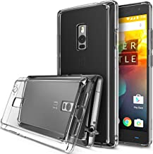 Ringke Fusion Compatible with OnePlus 2 Case Crystal Clear PC Back TPU Bumper with Screen Protector Drop Protection, Shock Absorption Technology (Attached Dust Cap) for OnePlus Two - Clear