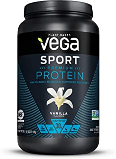 Vega Sport Premium Protein, Vanilla (20 Servings, 29.2 Ounce) - Plant-Based Vegan Protein Powder, BCAAs, Amino Acid, Tart Cherry, Non Whey, Gluten Free, Non GMO (Packaging May Vary), Large Tub