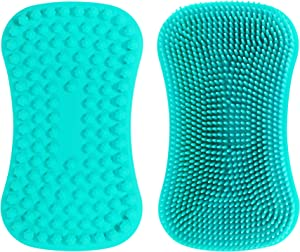 TOPHOME Silicone Non-Scratch Sponges Food-Grade Cleaning Brush for Kitchen Dishwash, Kids Tableware, Vegetable Fruits, Pot Pan Dish Bowl, Washing Hands, Blue-1pc