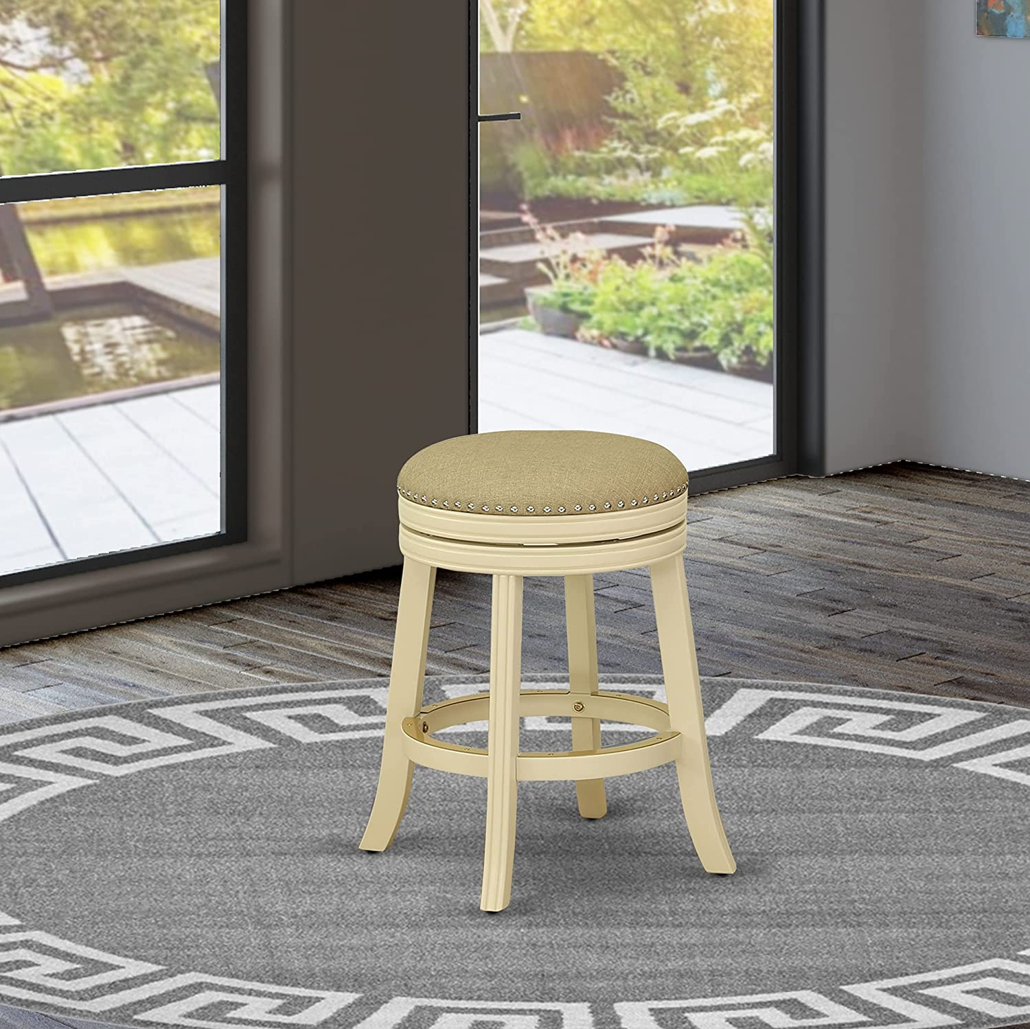 East West Furniture New York Mall Devers Swivel Backless He Seat Barstool Ranking TOP12 24''