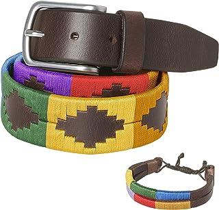 PELPE - Cinturón argentino de piel, con pulsera de hilo y cuero a juego. Cinturón bordado sobre cuero, para hombre y mujer...