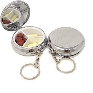 yueton Pack of 2 Pillbox Keychain,Key Chain Pill Case Container, Portable Keyring Round Pill Box/Storage Box