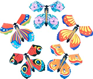 Glanzzeit Magic Fairy Props Flying Butterflies Funny Wind Up Toy Rubber Band Powered Surprise Gifts in Books, Greeting Car...