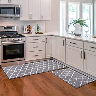 KMAT Kitchen Mat [2 PCS] Cushioned Anti-Fatigue Kitchen Rug, Waterproof Non-Slip Kitchen Mats and Rugs Heavy Duty PVC Ergo...