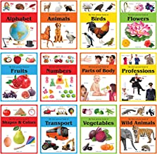 Early Learning Picture Books Boxset: Pack of 12 Picture Books for Kids (Wipe & Clean)- Alphabet, Animals, Numbers, Fruits,...