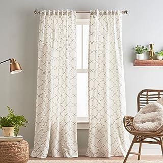 "Peri Home Mallorca Embroidery Back Tab Window Curtain Panel Pair, 84"", White/Natural"