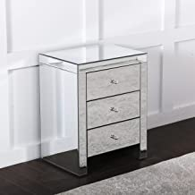 Comfortzone Home Furnishers Mirrored Venetian Ornate 3 Drawer Bedside Table, 46 x 35 x 54cm