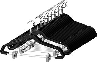 Premium Velvet Skirt Hangers (20 Pack) Non Slip Velvet Pants Hangers with Metal Clips, 360° Hook, Durable Ultra Thin Space...