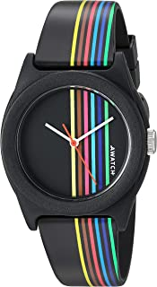 AWATCH by Armitron Unisex AW/1000WRB Multicolored Stripe Accented Matte Resin Strap Watch