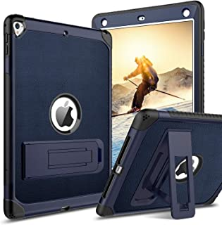YINLAI Case for iPad Air 2, iPad 2018 Case, iPad 9.7 2017 Case, 3 in 1 Full Body Rugged Protective Shockproof Kickstand Cover for 9.7inch iPad 5th/6th Generation, iPad Air 2nd Gen (Navy Blue)