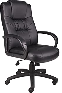 Boss Office Products Executive High Back LeatherPlus Chair in Black