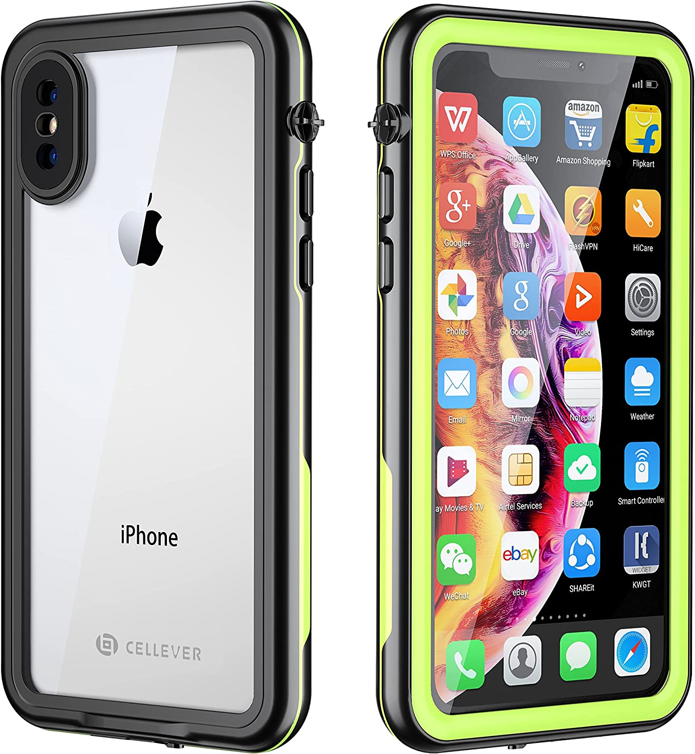 CellEver Compatible with iPhone Xs/iPhone X Waterproof Case Fully Sealed Clear Slim Military Grade Protection IP68 Certified SandProof Snowproof Full Body Protective Transparent Cover (Lime Green)