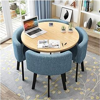 HLZY Mesa de Comedor Juego de Muebles Tabla de diseño de sillas y mesas Moderno Conjunto Ronda Balcón Salón Comedor Mesa de reunión de la Oficina Salón Cafetería La negociación de Negocios Cafetería