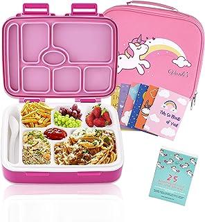 La caja Bento para niños incluye 7 compartimentos sellados aislados a prueba de fugas, Spork, Premium Kids Lunch Bag y 25 ...