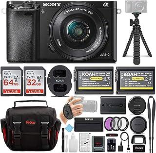 دوربین دیجیتال سونی Alpha ILCE-6000L / B a6000 سونی با بسته لنز 16-50 میلی متر با بسته نرم افزاری جانبی (سیاه)