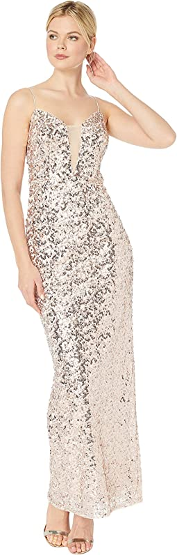 Sequin Column Evening Gown