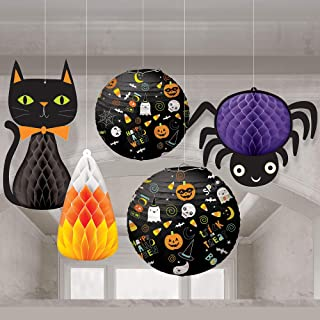 Amscan Friendly Halloween Honeycomb Decorations and Paper Lanterns, 5 Count, Includes a Cat, a Spider, and Candy Corn