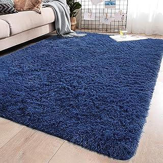 YJ.GWL Soft Shaggy Area Rugs for Bedroom Fluffy Living Room Rugs Anti-Skid Nursery Girls Carpets Kids Home Decor Rugs 4 x 5.3 Feet Indigo