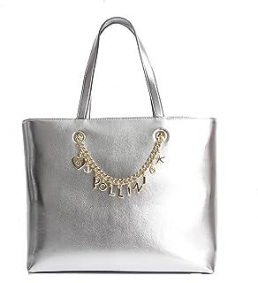 Pollini Shopper Silver metallizzata con dettagli metallici