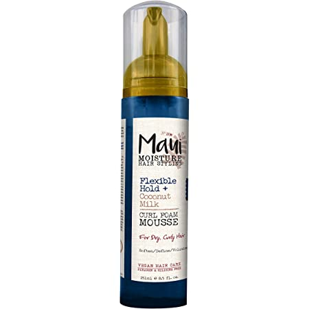 Maui Moisture Flexible Hold + Coconut Milk Curl Foam Mousse, for Curly Hair Styling, No Drying Alcohols, Parabens or Silicone, 8.5oz