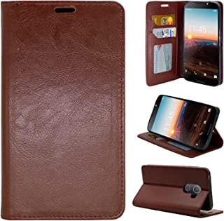 Alcatel A30 Fierce (2017) Case, Alcatel A30 Plus Walters Case, Alcatel REVVL Case, PU Wrist Strap Leather, Wallet Flip Protective Case Cover with Card Slots for Walters (Brown)