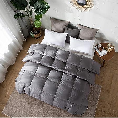 Amazon Brand-Umi Couette en Plume et Duvet pour l'hiver, avec Tissu 100% Coton et Protection Anti-Perte de Duvet, Conforme à la Norme Oeko-TEX Standard (155 x 220 cm, Gris)